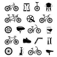 Cykel tillbehör svart ikoner set vektor