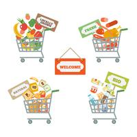 Supermarket kundvagn med mat vektor