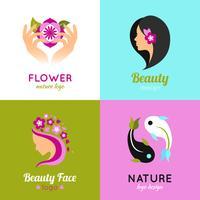 Beauty-Konzept Design 4 flachen Quadrat