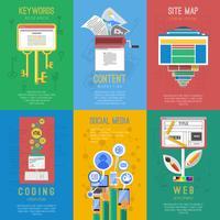 Seo platt ikoner komposition poster
