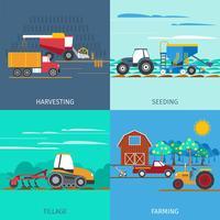 Jordbruksmaskiner Ikoner Set