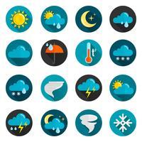 väder platt ikonuppsättning