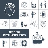 Künstliche Intelligenz Icons schwarz vektor