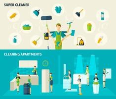super cleaner flat banners set