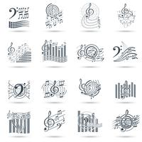 Musik noterar svarta ikoner vektor