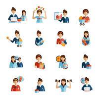 Flache Ikonen der Geschäftsfraugruppe eingestellt