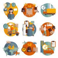 Logistik koncept ikoner uppsättning
