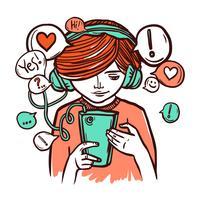 Ung flicka i hörlurar med smartphone vektor