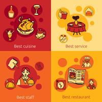 Restaurangdesignkoncept 4 platta ikoner vektor