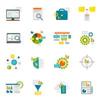 Flache Ikonen der Datenanalyse