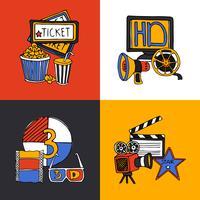 Flache Ikonen des Kinodesign-Konzeptes eingestellt vektor