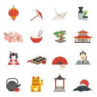 Japanska ikoner platt uppsättning