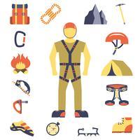 Klättrare utrustning utrustning ikoner platt