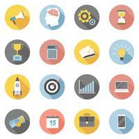Färgglada affärs ikoner platt set vektor