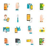 Digital hälsa platt ikoner