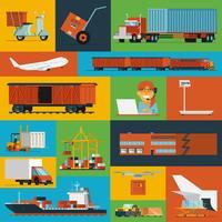 Logistische Symbole legen flach ab