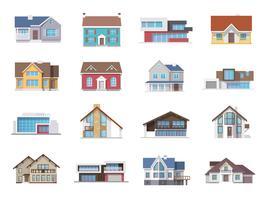 Hus ikoner Flat vektor