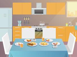 Frukost Tabell Flat vektor