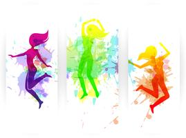 Springen Menschen Banner vektor