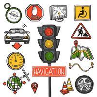 Navigations ikoner skiss