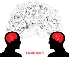 Business teamwork koncept ikoner komposition illustration