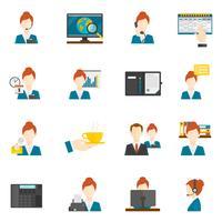 Personlig assistent platt ikoner vektor