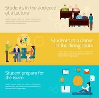 Studenter Banner Set vektor