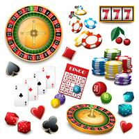 Kasino-Symbolsatzzusammensetzungsplakat vektor