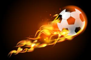 Fotbollskula eld på svart bakgrund vektor