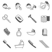 Hygiene-Icons schwarz vektor