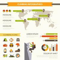 Klettern Infografiken Set vektor