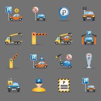 Parkeringsplatser platt ikoner grafit bakgrund