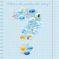 Skolan notebook sida väderprognos koncept