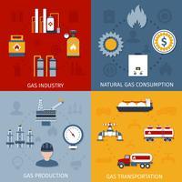 Flache Ikonenzusammensetzung der Gasindustrie vektor