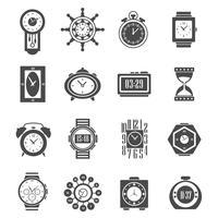 Schwarze Ikonen der Uhr eingestellt