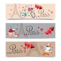 Paris vattenfärg symboler banderoller