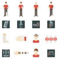 fraktur ben platt ikoner uppsättning