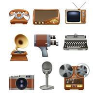 Retro Vintage Geräte Piktogramme gesetzt