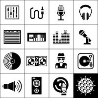 DJ Icons schwarz vektor
