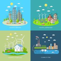 eco city design koncept uppsättning vektor