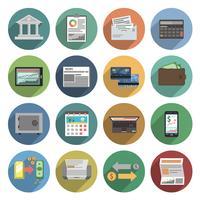 Bank ikoner platt uppsättning