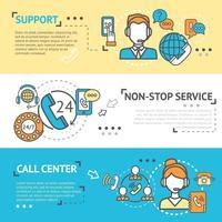 call center banner set vektor