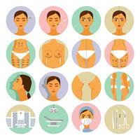Plastikkirurgi ikoner uppsättning