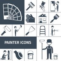 Målare ikoner sätta svart