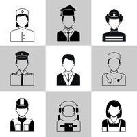 Professioner avatar ikoner svart uppsättning