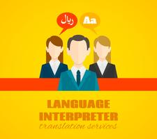 Translaton und Wörterbuchserviceplakat flach