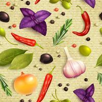 Örter och kryddor sömlöst mönster vektor