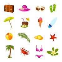 Strand mångfärgade ikoner uppsättning