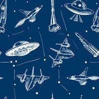 Raumflugzeuge nahtlose Muster vektor