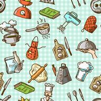 Matlagning ikoner sömlösa mönster vektor